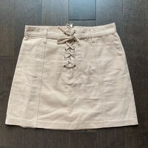 Beige lace up skirt